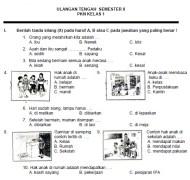 Soal UTS PKn SD Kelas 1 Semester 2 Genap