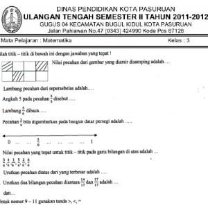 Soal UTS SD Kelas 3 Semester 2 Genap Matematika