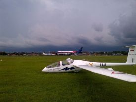Last flight before the storm moves in