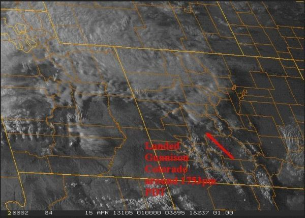 Final visible GOES image showing landing point at Gunnison, Colorado