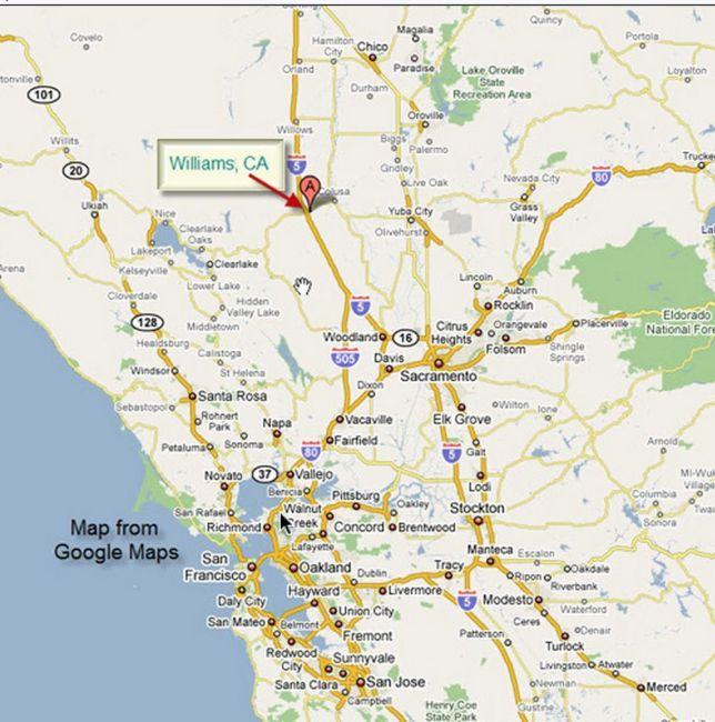 Williams CA Map