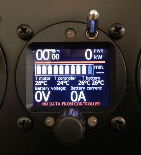 The pilot interface display, on/off switch (top) and power-control rotary knob (bottom). Assemble, and there you go!