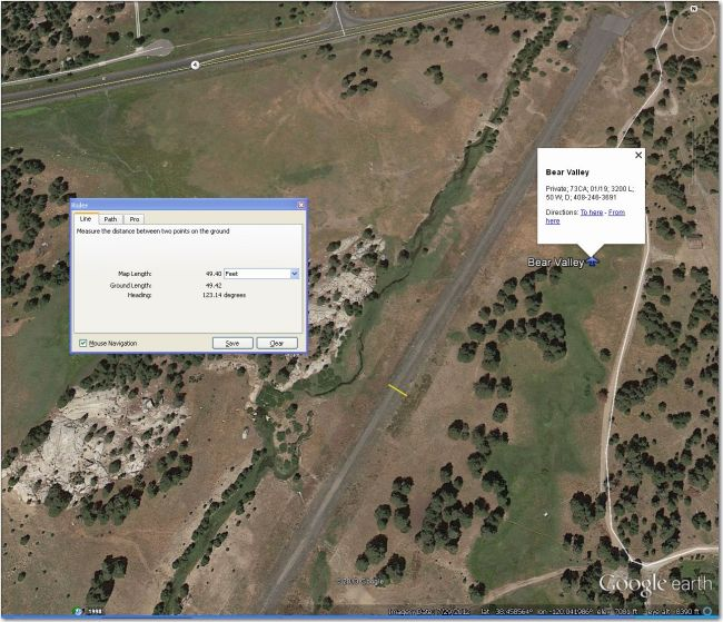 Bear Valley Airstrip.  Pavement too narrow for 15m or 18m, but might be do-able if brush not too high.  Nearest decent alternative is Alpine County, 23 mi NE.