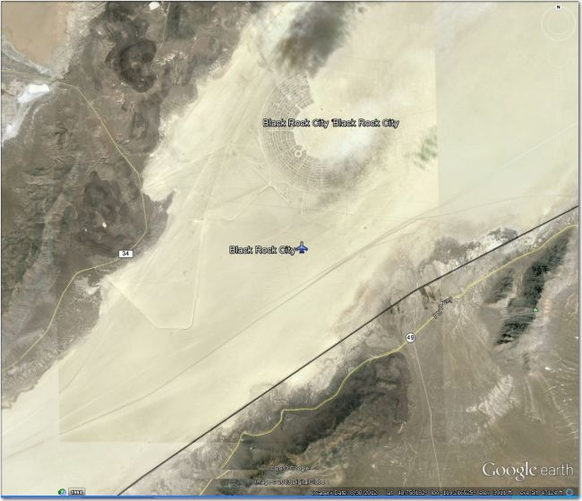 Site of the world-famous 'Burning Man' festival.  The airstrip is hard to see, but it is big and smooth enough for even private jets.