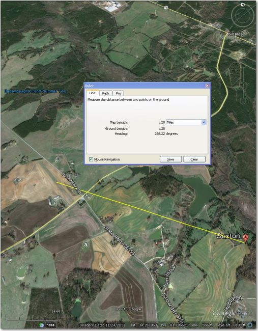 Waypoint symbol is about 1.3 mi ESE of the actual airstrip
