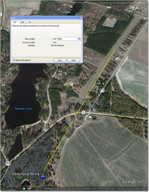Waypoint symbol is displaced about 0.8 mi SW of airstrip.
