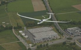 DG 1001T above the facility's hangars in Bruchsal