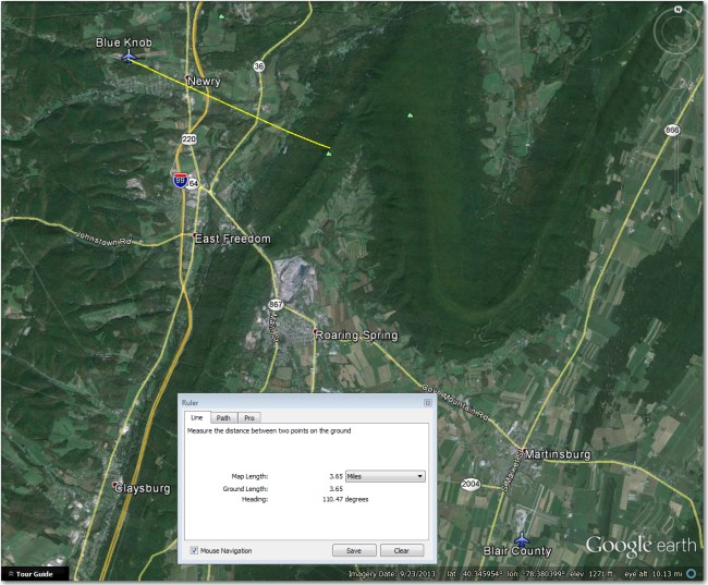 Blue Knob Airstrip - located just 3.6 mi west of the Dunning Mtn ridge, north of Blair county.