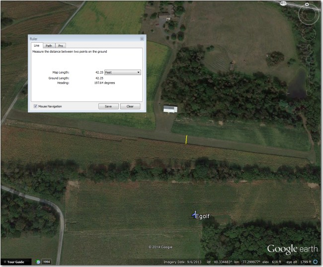 Egolf Airstrip:  Way too narrow for even 15m, and pretty short, too (1300').  Better off at Shulls 1.3 mi SSE