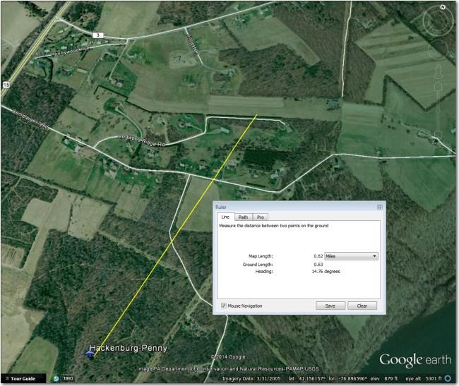 Airport symbol is 0.6 mi SW of airstrip