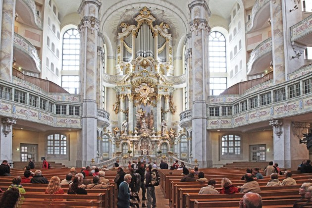 Interiour of the completely destroyed in WW-2 and restored church in Dresden centre