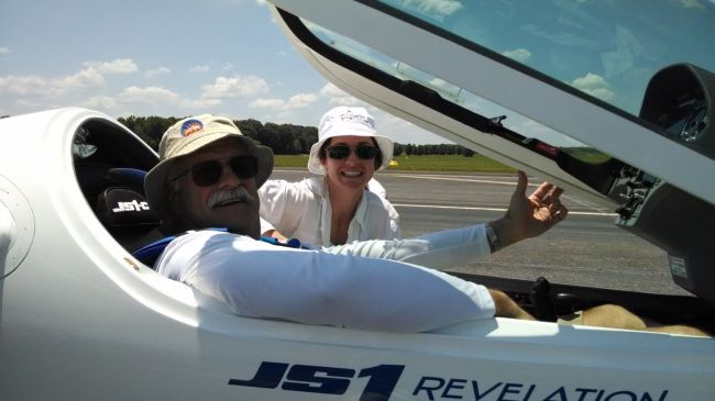 Dave Coggins (DT) in his brand-new JS1 'revelation', with Leo's wife Jennifer in the background