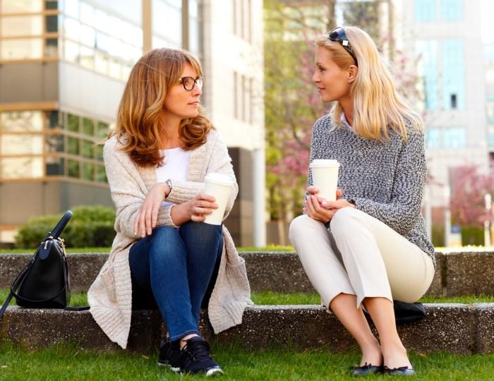Businesswomen have a break