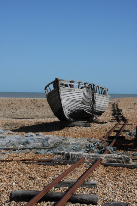 Decaying boat and rails, Dungeness. Copyright Fiona Michie
