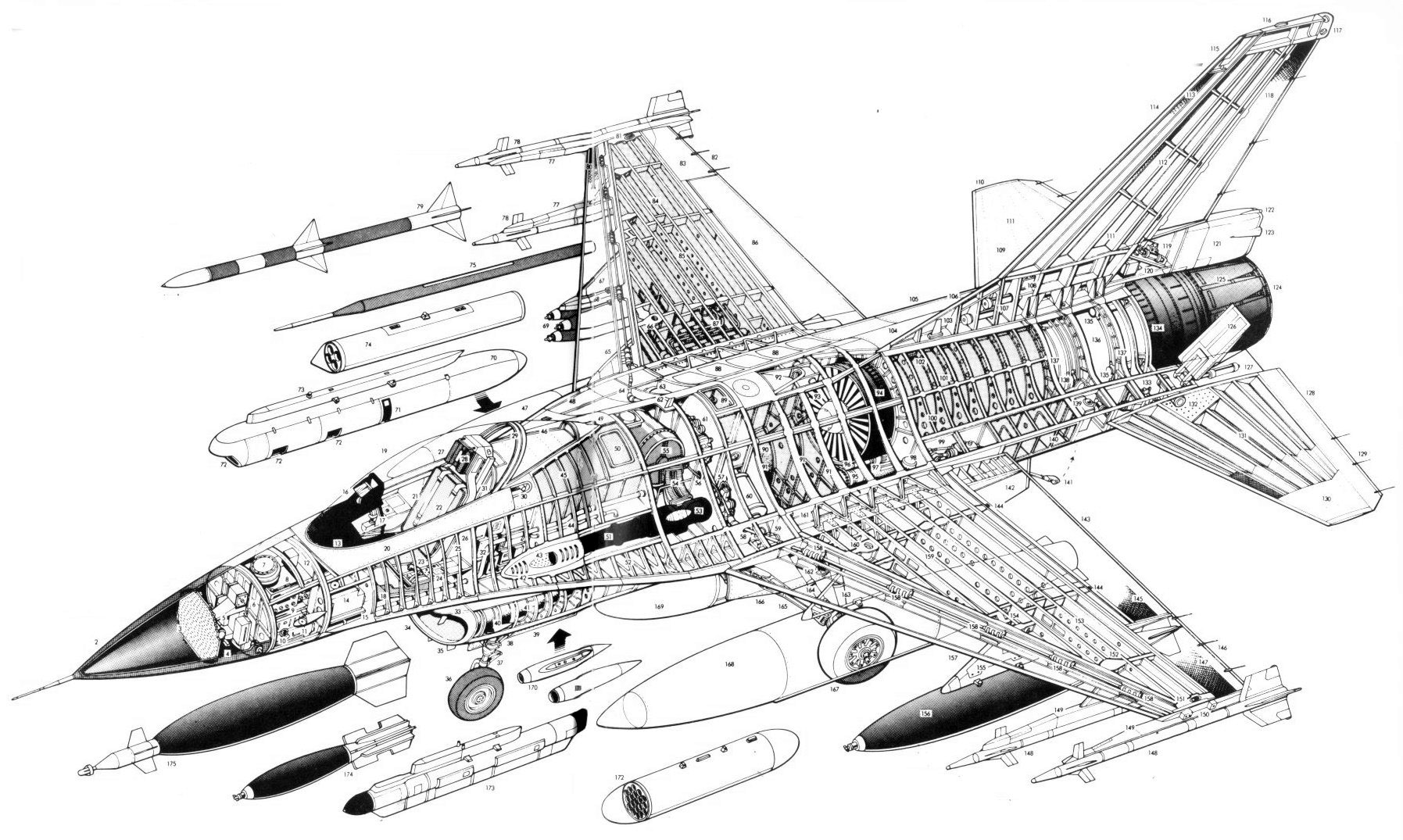Cutaway Lockheed F 16c Fighting Falcon