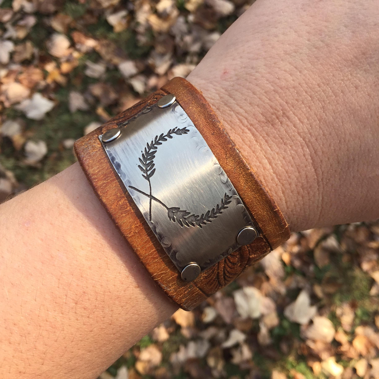 Leather Bracelet Olive Leather Cuff