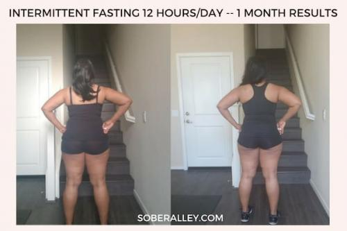 Intermittent fasting 12/12 one month results with before and after pictures for fast weight loss for women!