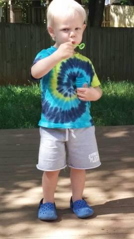 He loves blowing bubbles!