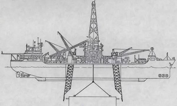 Infografía del GLOMAR Explorer y su pinza mecánica Clementine
