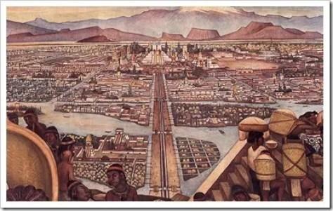 Tenochtitlan, pintura de Diego Rivera