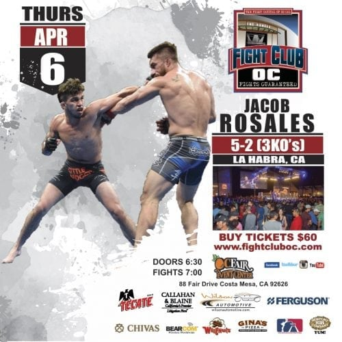 Three MMA Bouts Top Fight Club OC Show April 6th