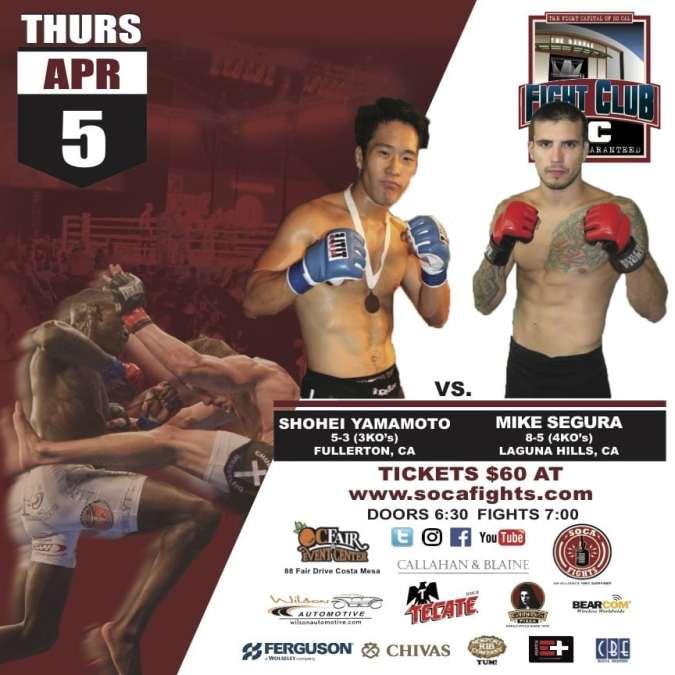 Fight Club OC April 5th MMA Fights Are Locked & Loaded