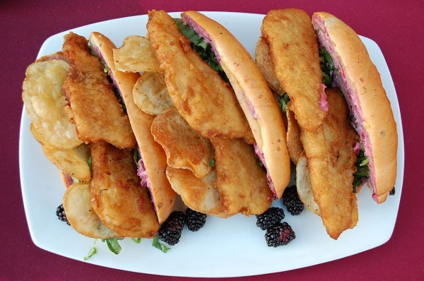 Fish-and-Chips-Sandwich with a Boysenberry Tartar Sauce