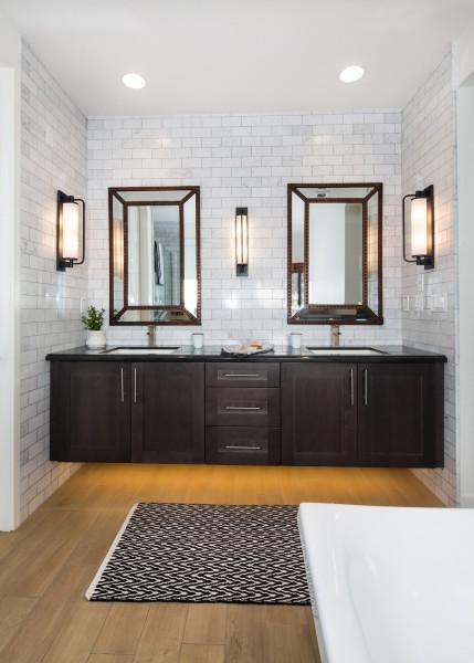Porcelain Wood Flooring in a Modern Farmhouse Bathroom with Subway Tile
