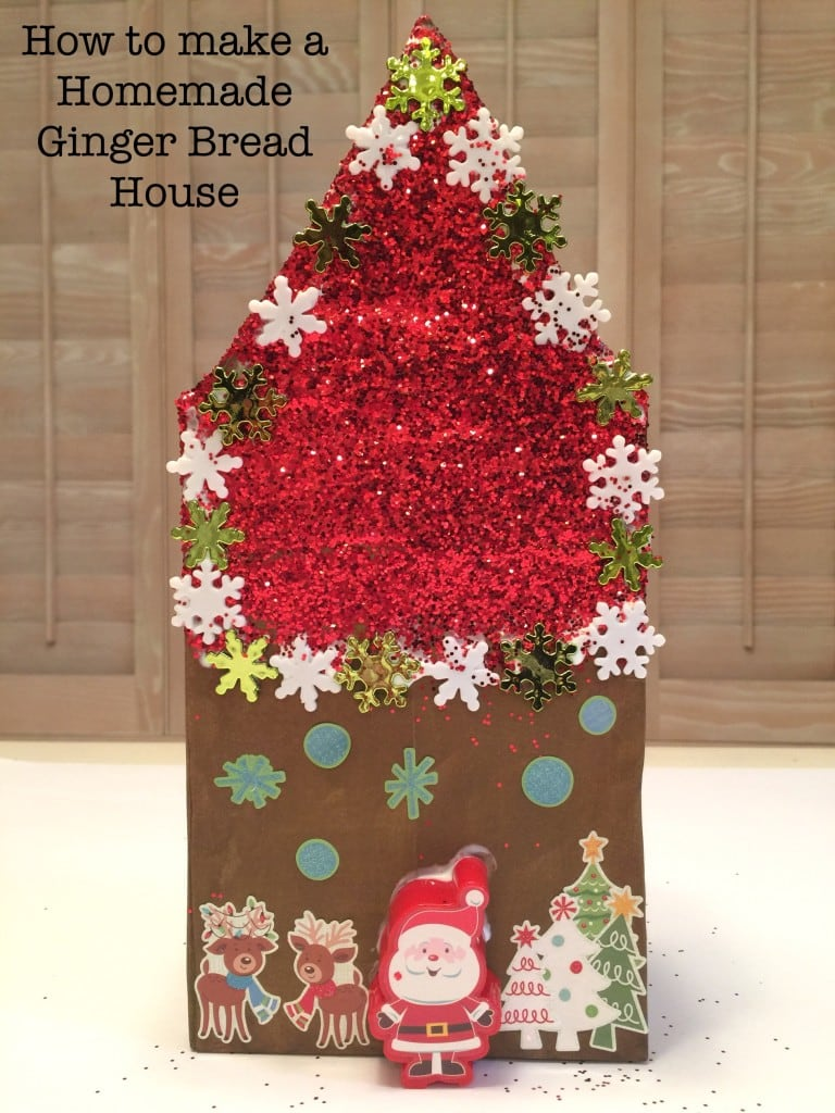 How to make a Homemade Gingerbread House out of cardboard and simple craft supplies.