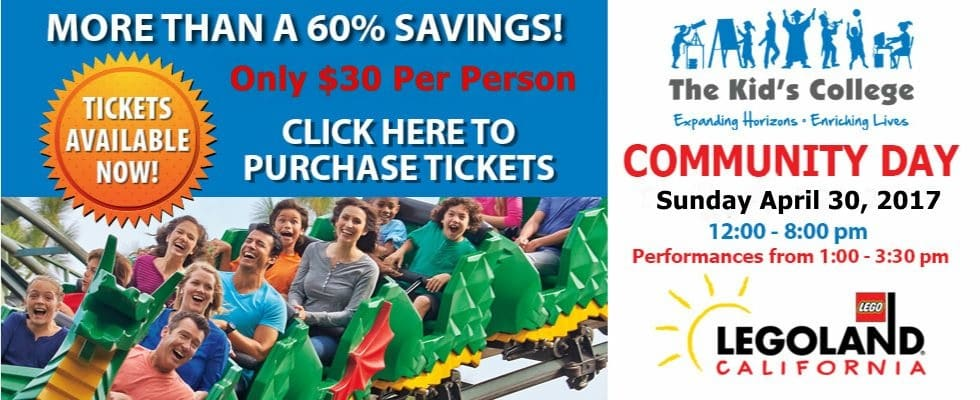 Are you planning a visit to LEGOLAND California? Get $30 Tickets to LEGOLAND California on April 30, 2017 in honor of The Kid's College Community Day in Carlsbad, California.