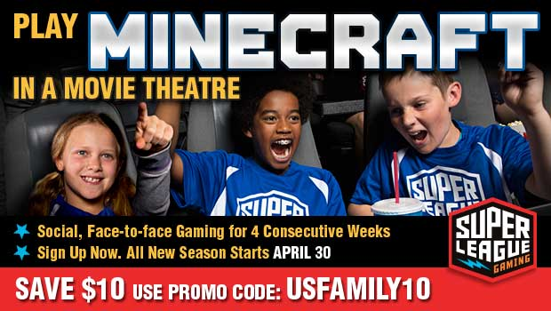 Does your son or daughter like to play Minecraft as much as my children do?  Now your family can play Minecraft in select movie theatres with Super League Gaming!  Super League brings together gamers of all ages for a fun, social, face-to-face gameplay experience on the big screen with superhero themed maps and mods in a custom Minecraft adventure called, Rise of Heroes.