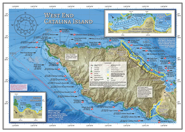 West End of Catalina fishing and diving map