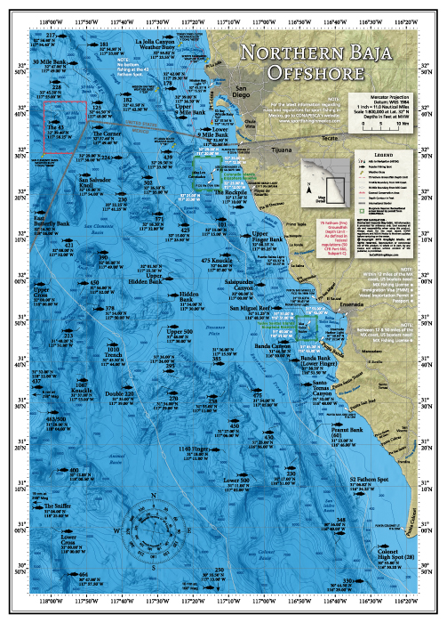 Northern Baja Offshore Fishing Map