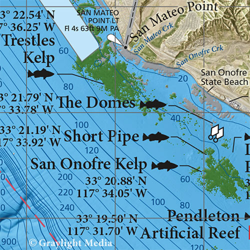 Popular fishing spots with GPS.