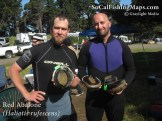 Back at camp with two limits of red abalone, Sonoma County, CA.