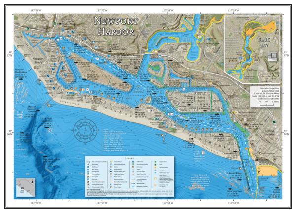 Newport Harbor Fishing and Boating Map