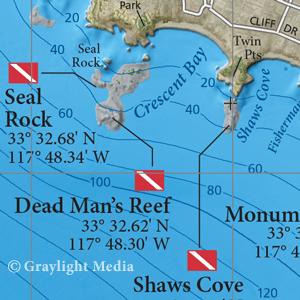 Map of popular Laguna Beach dive areas