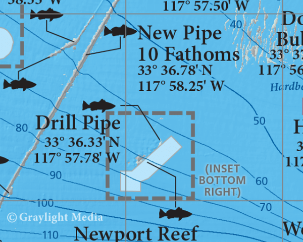 Close-up of our Newport Reefs fishing and diving map