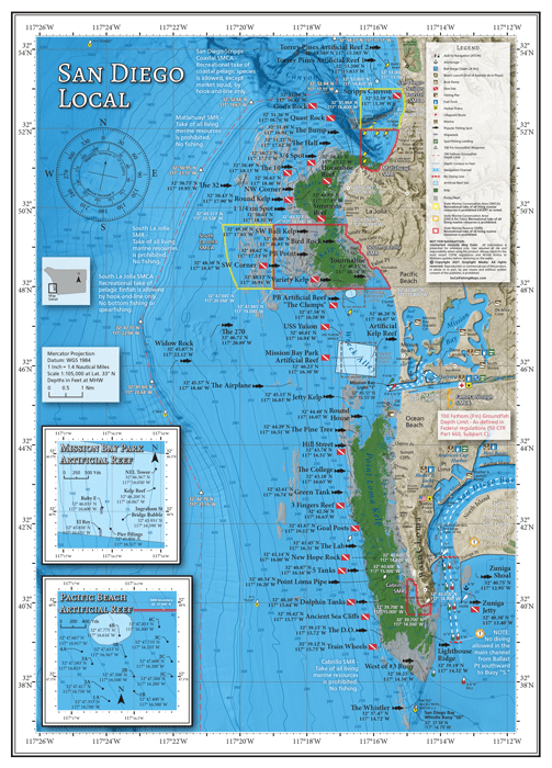 Map of popular fishing and diving locations at the La Jolla and Pt Loma kelp beds