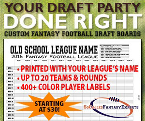 Custom Fantasy Football Draft Boards and Kit