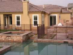 brown safety pool fence