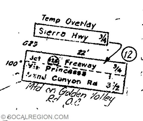 "Sign plans showing the original configuration and ""temp overlay"""