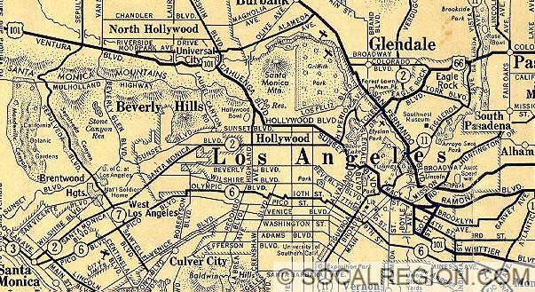 Historical Maps Of Southern California Southern California - Vintage road maps for sale