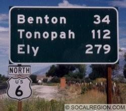 Mileage sign on US 6 leaving Bishop, CA