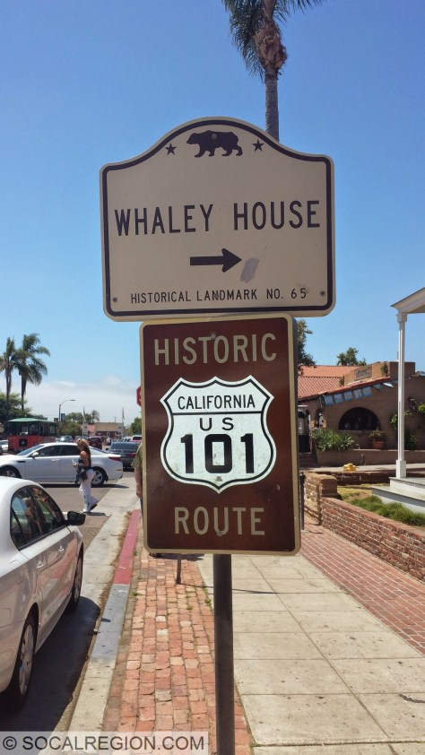 Historic US 101 signage on San Diego Ave in Old Town San Diego.