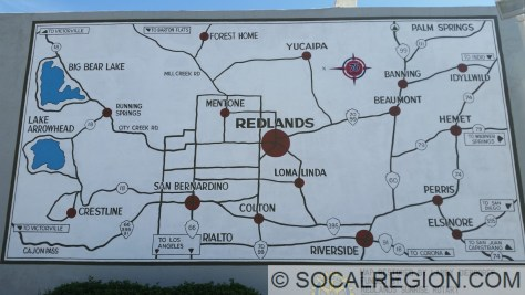 Restored map mural in Redlands, CA along US 99 (Redlands Blvd).