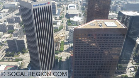 Bank of America and Wells Fargo buildings with the 2nd / Hope subway station under construction.