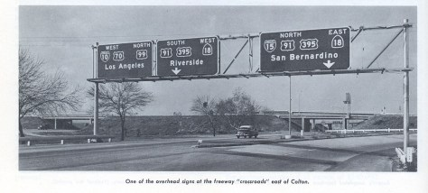 "Signage from 1960 at the ""Crossroads Interchange"" - now I-10 and I-215."