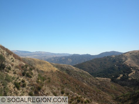 Toward Soledad Pass from Los Pinetos Mountain with the Sierra Pelona Mountains in the distance.