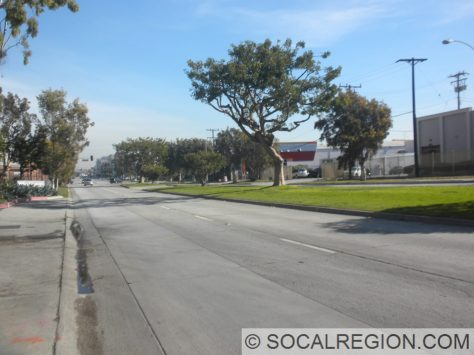 East on Olympic. Nice landscaped median and concrete roadway.